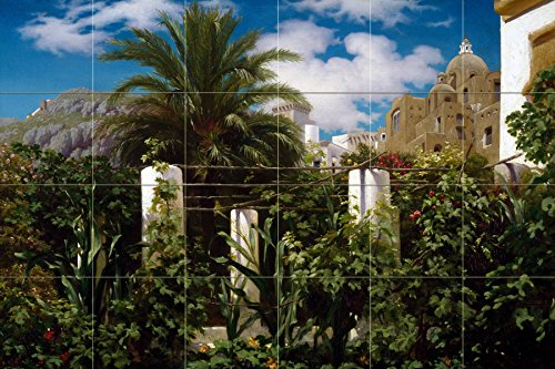 Tile Mural Garden of an Inn Capri landscape palm tree by Frederic Leighton Kitchen Bathroom Shower Wall Backsplash Splashback 6x4 6