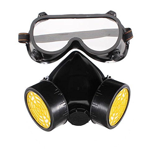 [Double Gas Mask Protection Filter Chemical Gas Respirator Face Mask] (Weed Bag Costume)