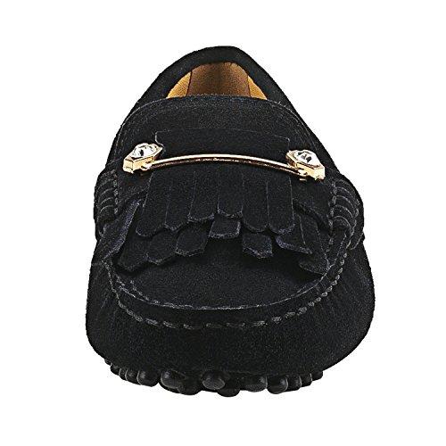 Shenduo Zapatos Primavera - Mocasines de cuero con suela goma cómodos para mujer D7066 Negro