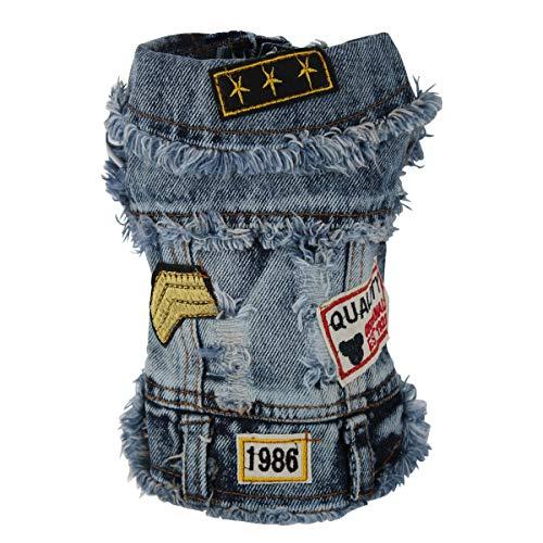 OSPet Dog Denim Hoodies Denim Vest Pet Fashion Outfit Puppy Jacket Dog Jumpsuit Pet Coat Overall for Small/Medium Dog & Cat