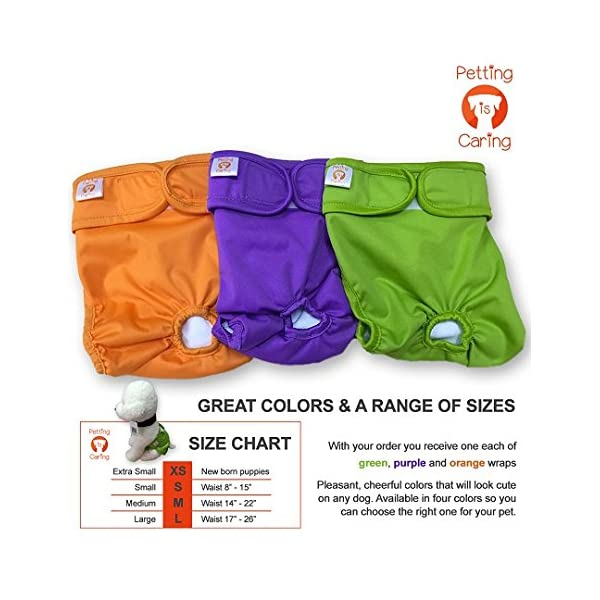 Dog Washable Diapers & Reusable by PETTING IS CARING – Female Dog Diapers Materials Durable Machine Washable Simple… Click on image for further info. 3