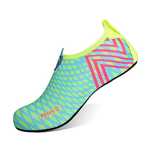 HEETA Barefoot Water Sports Shoes for Women Men Quick Dry Aqua Socks for Beach Pool Swim Yoga Light Blue L from HEETA