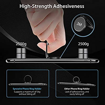 Syncwire Cell Phone Ring Holder Stand, 360 Degree Rotation Universal Finger Ring Kickstand with Polished Metal Phone Grip for Magnetic Car Mount Compatible with iPhone, Samsung, LG, Sony, HTC & More
