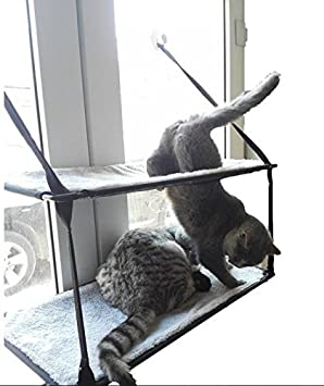 ZeHui Creative Window Mounted Cat Hammock with Suction Balcony Pet Bed Cushion Hanging Resting Seat L