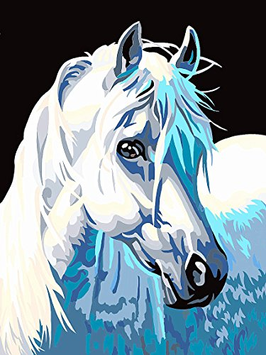 JynXos Wooden Framed Paint By Number Horses Linen Canvas DIY Painting - Melancholy Horse