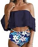 Tempt Me Women Two Piece Off Shoulder Ruffled Flounce Crop Bikini Top Print Cut Out Bottoms Blue Flower M