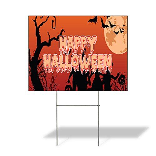 Plastic Weatherproof Yard Sign Events Happy Halloween #5 Orange for Sale Sign One Side 18inx12in