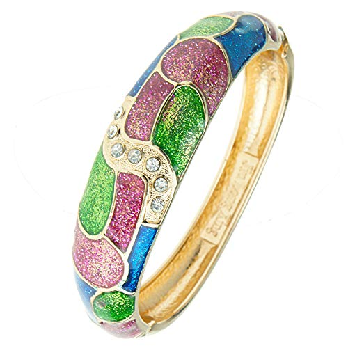 UJOY Vintage Cloisonne Bracelet Handcraft Colored Enamel Crystal Oval Cuff Bangle Jewelry Gifts 88A27 Multi
