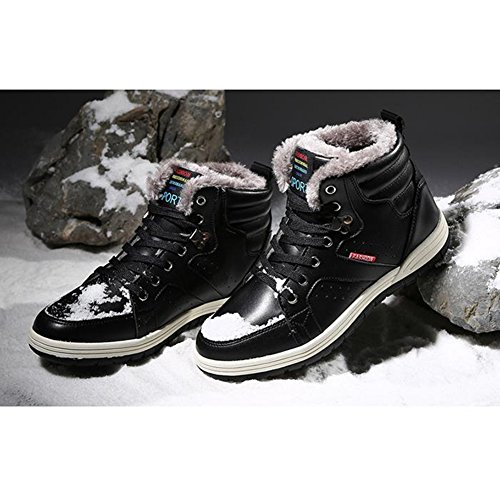 US Boots Cotton Lining Leather 5 plus 13 Men's hibote size Sneaker Shoes Ankle Worker Outdoor Lining Winter Warm Boots Casual 7 Black Shoes Plush Winter Shoes Walking wqzBzvE4C