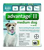 Bayer Advantage II Flea and Lice Treatment for Medium Dogs, 11 - 20 lb, 4 doses