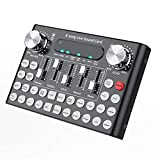 Studyset DC5V 1A K-Song Studio Audio Mixer Microphone Webcast Live Sound Card for Phone Computer PC Black