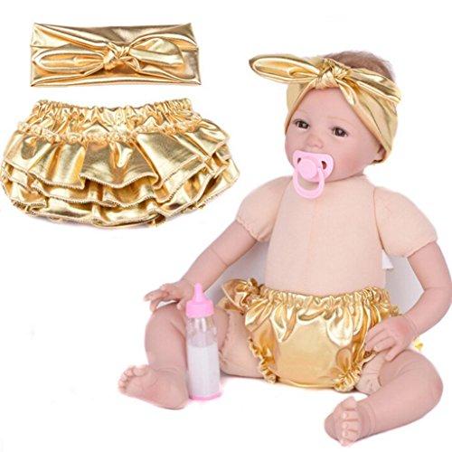 1 Set Baby Gilding Cover Newborn Headband Shorts Toddler PP Pants VIASA (M) (Dots Polka Knob Pink)