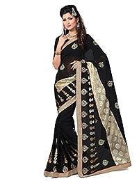 Shonaya Black color Georgette Saree with Unstitched Blouse Piece,Free Size