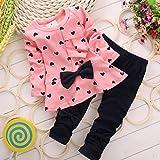 XILALU New Baby Sets Heart-shaped Print Bow Cute 2PCS Kids Set T shirt + Pants (0-6M, Pink )