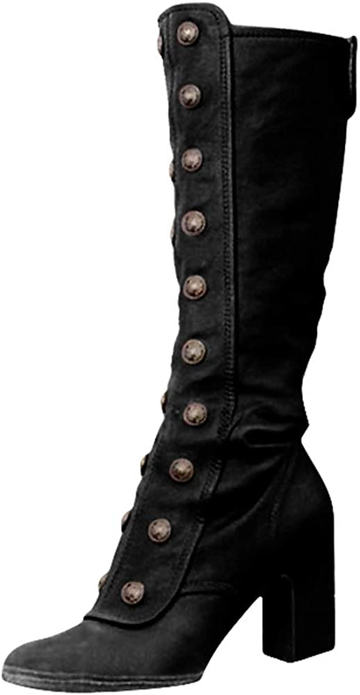 Retro Women/'s Knee-high Riding Boots High Heels Round Toe Buckle Vintage Shoes