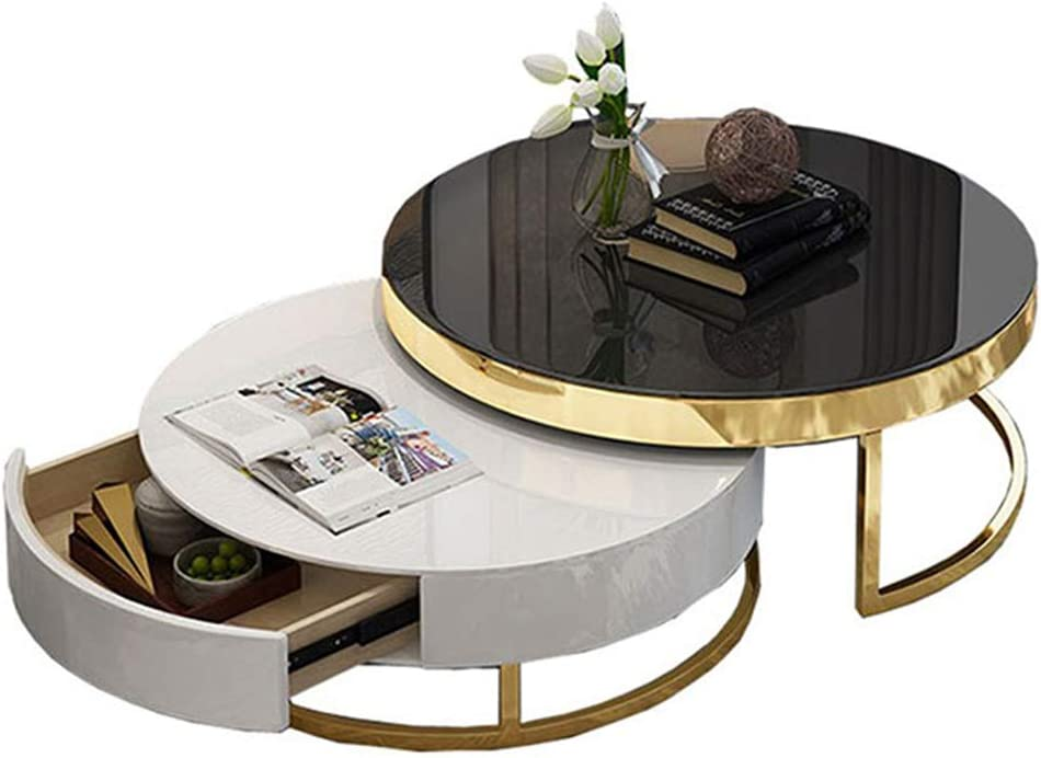 Beste Keuze GSH Side Table Bijzettafel, houten platen, salontafelset, modern, 2 stuks, ronde tafel, woonkamer, accent, meubels, sofa, bijzettafel, zwart/wit #3 hZkFVuO