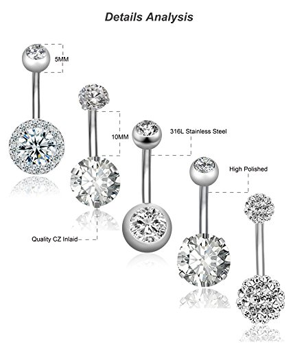 REVOLIA 5Pcs 14G Stainless Steel Belly Button Rings for Women Girls Navel Rings CZ Body Piercing S by REVOLIA (Image #4)