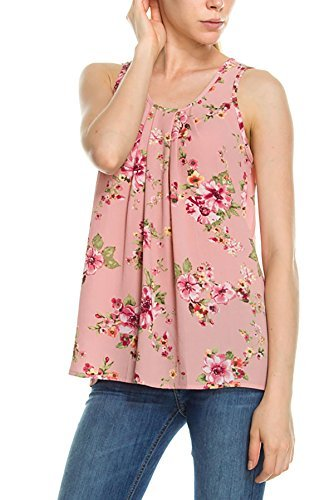 int Woven Sleeveless Tank Top Blouse Mauve M (Floral Print Woven Blouse)