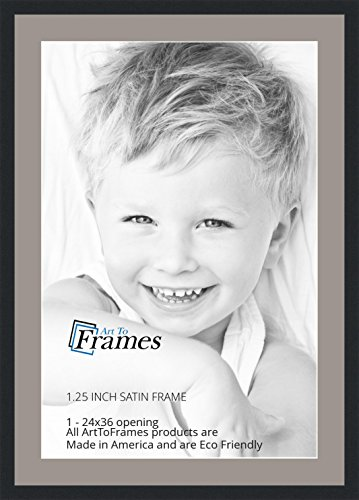 ArtToFrames 24 x 36 Inch Opening Single Mat with a Satin Black 1.25'' wide Picture Frame, 2'' TV Grey Mat (36 Inch Wide Tvs)