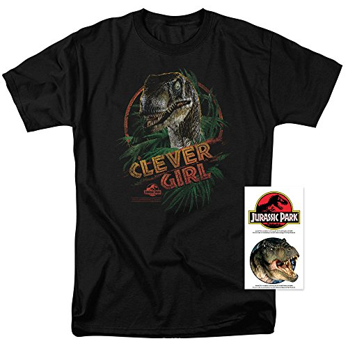 Jurassic Park Clever Girl T Shirt & Exclusive Stickers (X-Large) Black