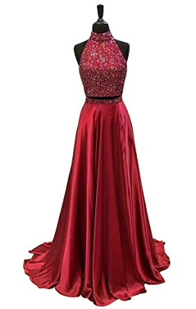 GMAR Womens High Neck Beaded Prom Dresses Two Piece Homecoming Gowns Long