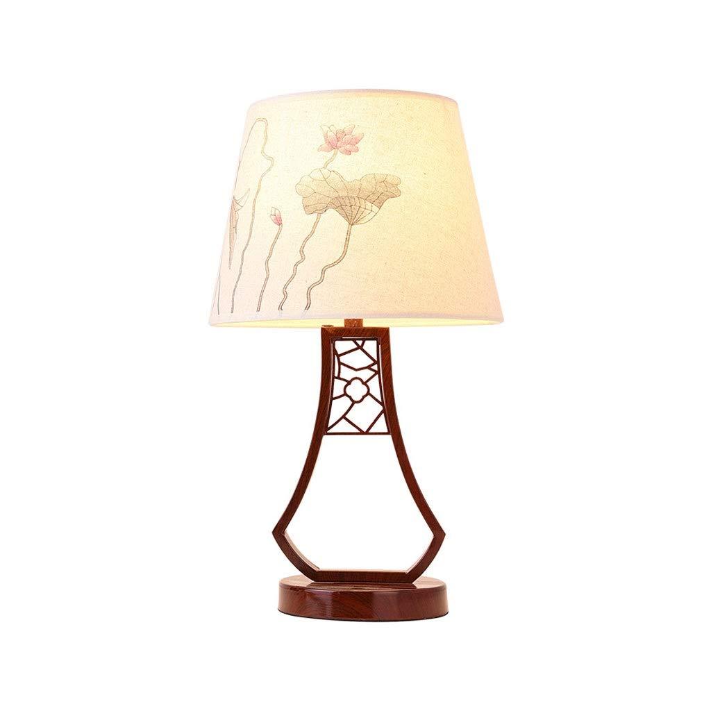 Table Lamp Bedroom Bedside Lamp Living Room Creative Study Hotel Engineering Retro Lotus Pattern Decorative Table Lamp