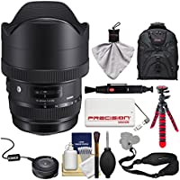 Sigma 12-24mm f/4 ART DG HSM Zoom Lens for Canon EOS DSLR Cameras with USB Dock + Backpack + Flex Tripod + Power Bank + Strap + Kit