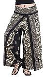 CandyHusky Women's Elastic Waist Bohemian Hippie Gypsy Harem Palazzo Print Pants (Floral Mandala 2 Black)