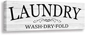Laundry Sign - Retro Laundry Sign Wall Art | Laundry Regular Canvas Print Sign Frame | Laundry Antique Wood Wall Sign Decoration (6 X 17 inch, Laundry 1)