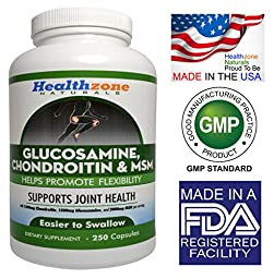 Glucosamine Chondroitin MSM Capsules - Joint Support Health Supplement - Relieve Sore Knee, Hip, Finger, Wrist, Elbow, Shoulder, Lower Back, Joint Pain – 1500 mg Glucosamine Sulfate - 250 Capsules