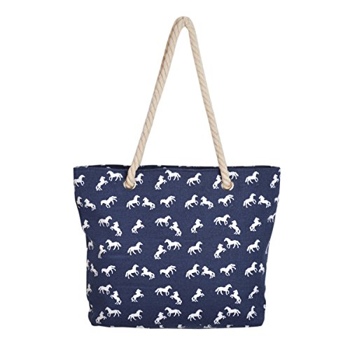 (Premium Large Stallion Horse Animal Print Canvas Tote Shoulder Bag)