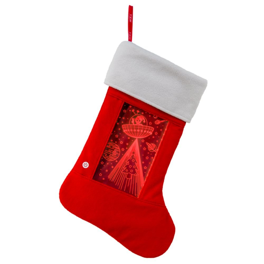 Large Lighted Holiday Stocking for Boys and Girls; Decorative Family Stocking with Lights Women Pets; LED Light up Xmas Stocking Alien Kids YEW Stuff: Christmas Stockings for Men
