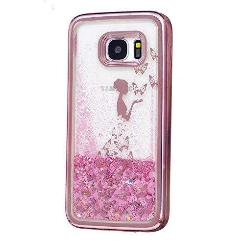 Trumpshop Smartphone Carcasa Funda Protección para Samsung Galaxy S7 edge + Niña bonita + Fina de TPU Transparent Liquido Dinámica Sparkle Estrellas Quicksand Caja Protectora Hada de la mariposa