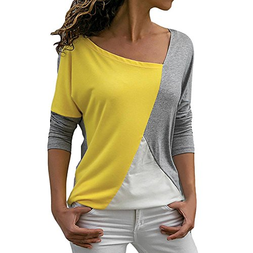 JOFOW Women's Long Sleeve Block Patchwork O Neck Loose Blouse Top Shirt (L,Gray)