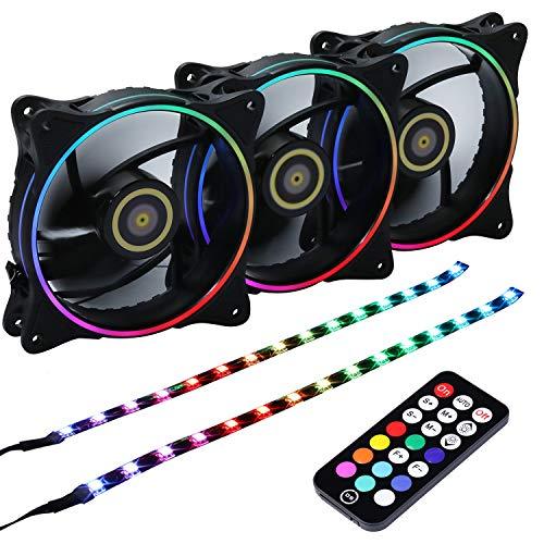 Ventilador Ds Wire Rainbow 3pcs Rgb Fans And 2pcs Led Strip,