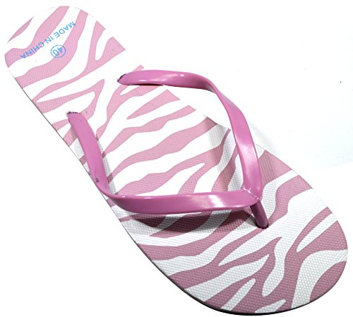 OCTAVE® Ladies Summer Beach Wear Flip Flops Collection Various Styles & Colours Zebra Design - Light Pink EZxZF5wRic