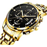 Gold Stainless Steel Men's Wrist Watches Analog Quartz Black Military Chronograph Mutifunctional Wristwatch for Man with Date Calendar