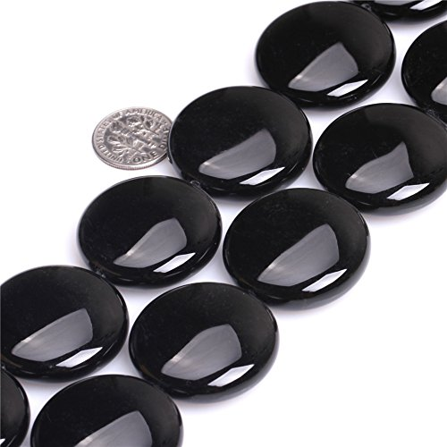 30mm Natural Semi Precious Gemstone Coin Black Agate Beads for Jewelry Making Strand 15
