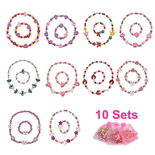 [VALUE BUNDLE] PinkSheep Woodland Animal Friends Necklace & Bracelet Jewelry Value Set, 10 Sets, Wooden Bead, Children Kids Little Girl Kids Party Favor