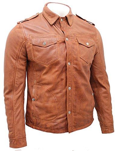 Rivestimento Cuoio Jeans Camicia Di Abbronzarsi Annata Uomo 4qAFaF
