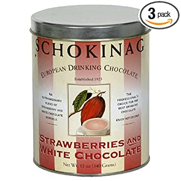 Schokinag European Drinking Chocolate, Strawberries and White Chocolate, 12-Ounce Canisters (Pack
