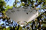 Vintage hanging glass bird feeder in frosted white with petite flower design