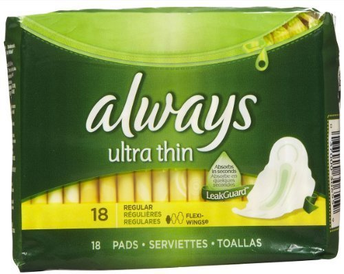 Always Ultra Thin Regular Pads with Wings, 18 count by Procter&Gamble Health