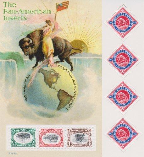 Pan American Inverts Full Sheet of 7 Stamps 3 Inverts & 4 x 80¢ Buffalo USA 2001 Scott #3505 (Mint Train Stamps)