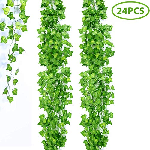 Ivy Garden - Ohuhu Artificial Ivy Vines 158Ft/24 Strands/79 Inch Each, Fake Ivy, Greenery Garland, Greenery Backdrop Fake Foliage Ivy Leaves Hanging for Wedding Baby Shower Garden Party Wall Decor