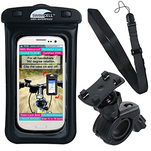 "Waterproof Bike Phone Case - Motorbike or Bicycle Mount for Handlebars. Fits All Phones. 6.7"" x 4""- iPhone 7,8 Plus + Samsung. GPS Navigation, Cycling Computer. 360 Degree Rotation with Neck Strap."