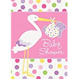 Pink Stork Baby Shower Invitations, 8ct