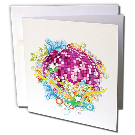 - Anne Marie Baugh - Contemporary - Purple and Pink Sparkle Mirror Ball Surrounded In Flowers and Flourishes - 6 Greeting Cards with envelopes (gc_236140_1)