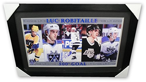 Luc Robitaille Hand Signed Autographed 16x24 Photo 500th Goal LA Kings framed