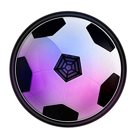 Air Power Soccer Disc LED Colorful LED Light Up Hover Football Disk Ultraglow Gliding Suspension Ball Game Toy Gift with Foam Bumpers for Indoor and Outdoor (Turn Concrete Into Gold)